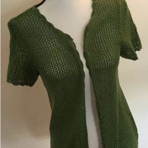 SAG HARBOR Hunter Green Open SS Cardigan Size MP